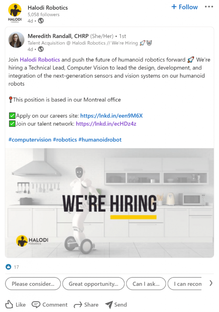 Using social media and employee ambassadors to promote your talent network is a method of recruitment marketing automation. If you want your startup hiring plan to reflect your employer brand, this is a must-have.